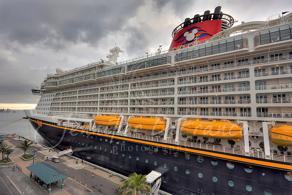 The Disney Dream taken from our verandah.  It wasn't long after we got back on board and the skies opened up.  I got my one and only migraine of the entire trip that day and I am sure it was due to the weather.
