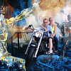 "There we are at the ""Terminator"" show seeing how it feels for Arnold to ride around on the cool bikes. :-)"