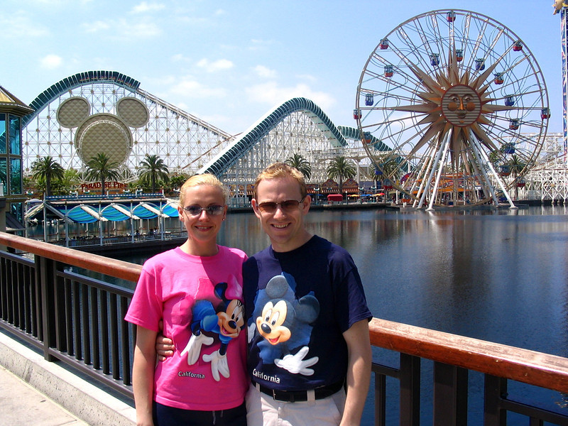 """On Day 2 at Disneyland we enjoyed some time at """"Disney's California Adventure""""... this is Disney's theme park that opened right next to Disneyland in 2001.  This park has some great shows & rides there and nice places to hang out like in this pic at """"Paradise Pier""""."""