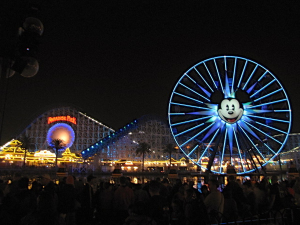 Paradise Pier is the setting for the World of Color show when the sun goes down... what an awesome setting at night with the thousands of lights all around.