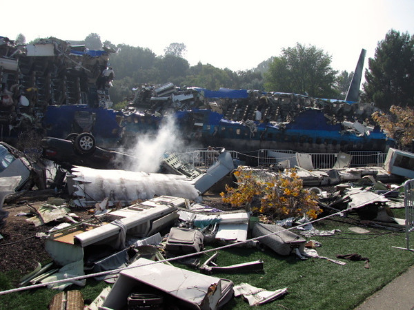 """One of our favorite experiences at Universal Hollywood is their famous Studio Tour ride... here's a look at the """"War of the World's"""" plane crash scene... there's so much to see on this tour and they just added a King Kong 3D component to it... awesome!!"""