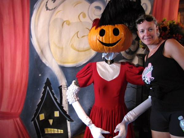 There's Nancy getting up close with one of Disneyland's Halloween visitors...
