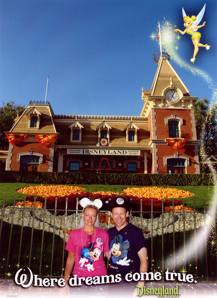 There we are at the entrance to Disneyland at the famous Train Station.  What a great Honeymoon this has been... a Hawaiian Cruise, 3 days in Hawaii & now 3 days in Disneyland... perfect! :-)