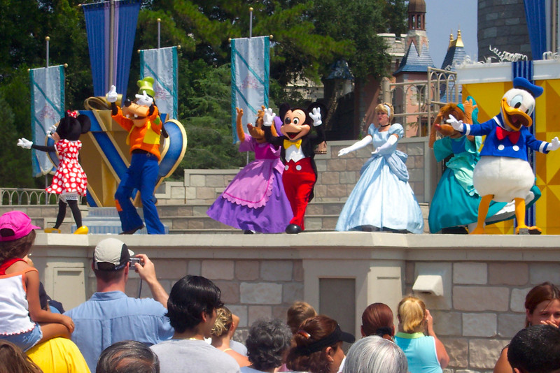 """For our 1st day at the parks we headed to """"Magic Kingdom""""... Mickey & his friends put on a little show for us at """"Cinderella's Castle""""... it was great! :-)"""
