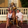 "There we are with Goofy, relaxing after a long, fun day at Walt Disney World's ""Magic Kingdom"" Park."