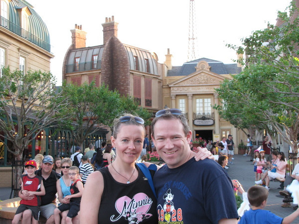 """For our last day in Walt Disney World, we enjoyed the day in Epcot... there we are hanging out in """"France"""" at the World Showcase... when in Epcot DON'T miss out on the Ice Cream at the Kiosk in France... To Die For!! :-) Well, our 5th trip to Walt Disney World together has been another great one... till next time! :-)"""