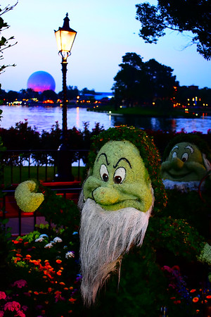 Grumpy Topiary at Night at Epcot