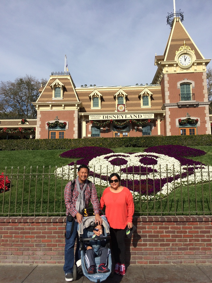 At last, Dominic's first visit to Disneyland ever! Here posing with Daddy and Mommy!