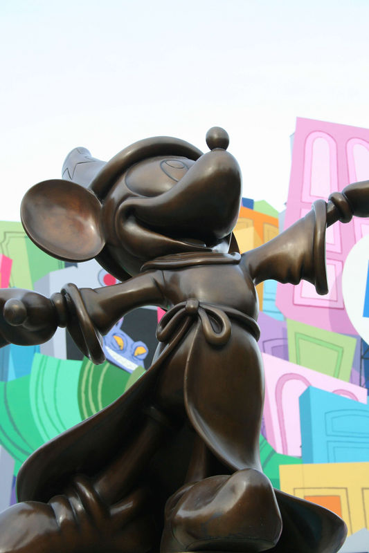 Sorcerer Mickey statue outside Monsters Inc.