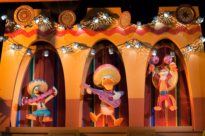 In the South America Room, you can find the Three Caballeros:  (from left to right)  José Carioca, Donald Duck, and Panchito Pistoles