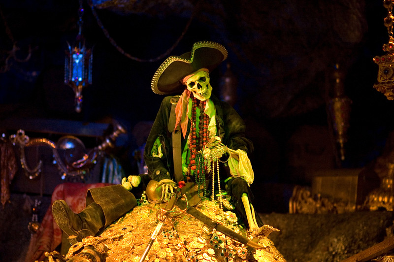 This is my favorite Disneyland picture, taken on my birthday in 2006.  <br /> <br /> The position of the pirate skeleton has been moved a bit due to renovations or maintenance over the past year and a half.  Now, he looks down at his hand, which is probably more correct.