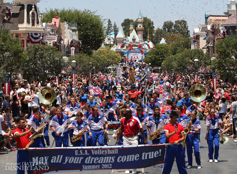 (July 17, 2012) Joined by Mickey Mouse and his Disney pals, the USA Volleyball Teams make their way down Main Street, U.S.A. during a salute at Disneyland Park in Anaheim, Calif., on Tuesday. The patriotic tribute to the two Anaheim-based teams celebrated the dreams of all U.S. Athletes as they prepare for their upcoming summer competition. (Paul Hiffmeyer/Disneyland)