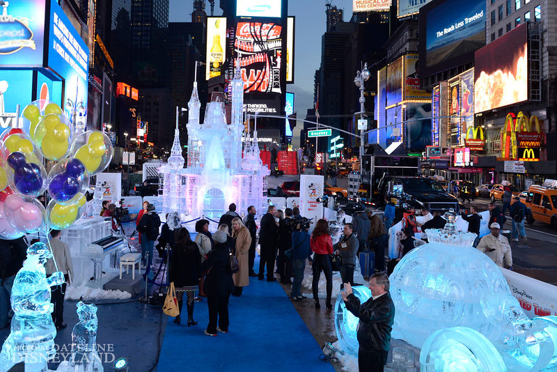 "(OCT. 17, 2012):  Surrounded by illuminated ice sculptures of Cinderella's Coach and an ice-encased piano, Disney Parks unveiled a 25-foot-tall, 45,000-pound castle made of ice as the sun rose Oct, 17, 2012 over Times Square in New York City.  The icy structure was unveiled during the Disney Parks announcement of ""Limited Time Magic"" that will take place throughout 2013 at Disneyland Resort in California and Walt Disney World Resort in Florida.  Next year, each week at the Disney theme parks will be highlighted by a different surprise or guest enhancement for a one-week-only engagement.  Each weekly surprise, many never-before-seen in the Disney Parks, will include entertainment, dining, character experiences and more.  Each one will disappear after seven days and make way for the next week's Limited Time Magic experience.  Combined with the heat of the morning and early-afternoon sun, the ice castle in Times Square -- which took more than 12 hours to construct and craft -- demonstrates the short-lived nature of Disney's Limited Time Magic.  (David Roark, photographer)"