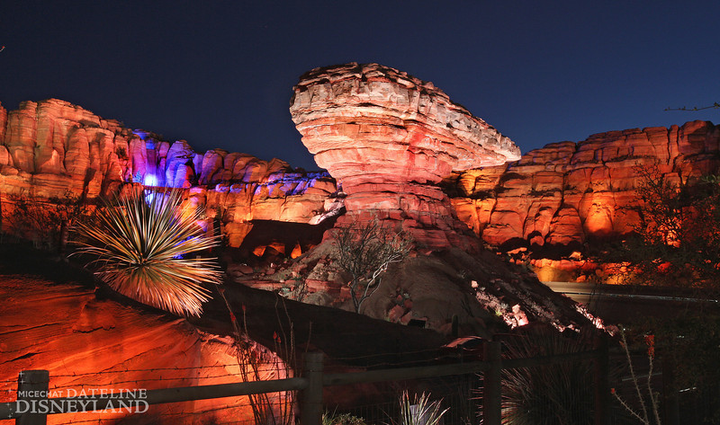 """ORNAMENT VALLEY -- Coming to Disney California Adventure park June 15, 2012, Cars Land features three immersive family attractions showcasing characters and settings from the Disney-Pixar film, """"Cars,"""" including one of the largest and most elaborate themed environments ever created for a Disney park. Wily's Butte, shown here, is part of Ornament Valley, the setting for Radiator Springs Racers, a twisting turning, high-speed adventure through the town of Radiator Springs. (Paul Hiffmeyer/Disneyland Resort)"""