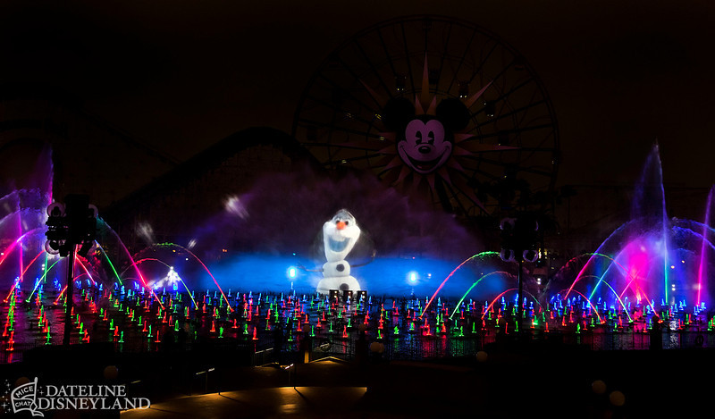 "OLAF IN ""WORLD OF COLOR – WINTER DREAMS"" --  ""World of Color − Winter Dreams,"" the all-new holiday version of the popular ""World of Color"" after-dark spectacular at Disney California Adventure Park adds even more merriment to the holiday season at the Disneyland Resort. Hosted by Olaf the snowman from Walt Disney Pictures' animated feature ""Frozen,"" ""World of Color − Winter Dreams"" spectacular combines new animation with classic winter scenes from beloved Disney and Disney-Pixar films. The show includes new music and special effects, along with new methods for utilizing the massive ""stage"" of water, color and light on which ""World of Color"" is presented. (Paul Hiffmeyer/Disneyland Resort)"