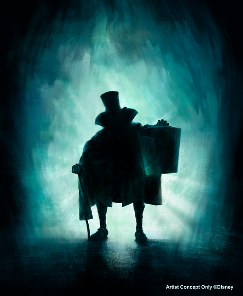 HATBOX GHOST MATERIALIZES AT HAUNTED MANSION (ANAHEIM, Calif.)  – This artist's rendering depicts the Hatbox Ghost, a legendary figure in the Haunted Mansion at Disneyland park. The Hatbox Ghost briefly materialized in the Haunted Mansion around its opening in 1969 and will reappear to haunt guests in May 2015. (Artist's Rendering/Walt Disney Imagineering)