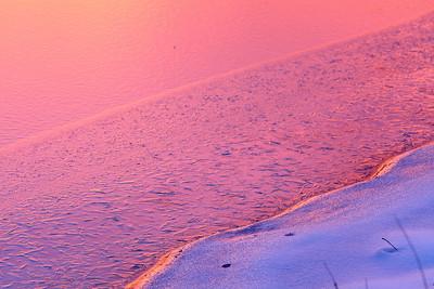 Edge of frozen pond at sunset, Hampton, VA. © 2014 Kenneth R. Sheide