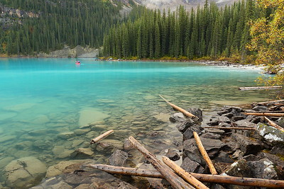 Canoe in aquamarine Moraine Lake. Banff National Park, Alberta, Canada. © 2019 Kenneth R. Sheide