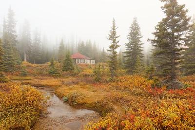 Cabin in foggy woods at Bow Lake, Jasper National Park, Alberta, Canada. © 2019 Kenneth R. Sheide