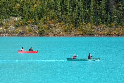 Canoes on Moraine Lake. Banff National Park, Alberta, Canada. © 2019 Kenneth R. Sheide