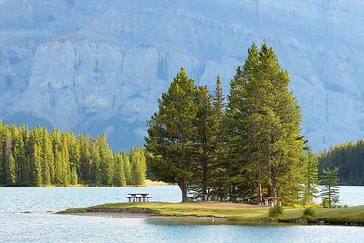 Peaceful picnic location alongside Two Jacks Lake.  Banff National Park, Alberta, Canada. © 2019 Kenneth R. Sheide