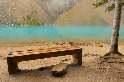 Bench with a view at Moraine Lake, Banff National Park, Alberta, Canada. © 2019 Kenneth R. Sheide
