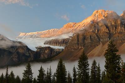 Sunrise on Crowfoot mountain and glacier.  Jasper National Park, Alberta, Canada. © 2019 Kenneth R. Sheide