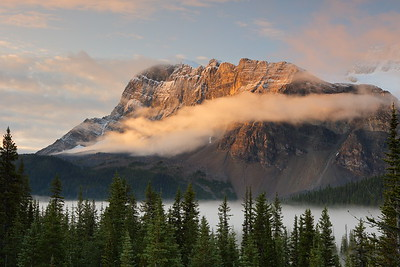 Sunrise over misty valley lighting Bow Peak. Jasper National Park, Alberta, Canada. © 2019 Kenneth R. Sheide