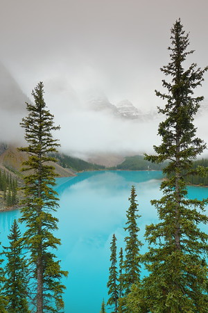 Misty morning at Moraine Lake. Banff National Park, Alberta, Canada. © 2019 Kenneth R. Sheide
