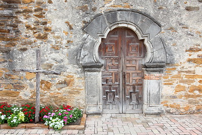 Door into church of Mission Espada, San Antonio, TX. © 2013 Kenneth R. Sheide