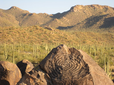 Petroglyph at sunset in Saguaro National Park, AZ. © 2008 Kenneth R. Sheide
