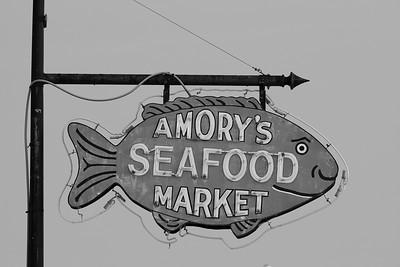 Amory's Seafood sign, Hampton, VA. © 2014 Kenneth R. Sheide