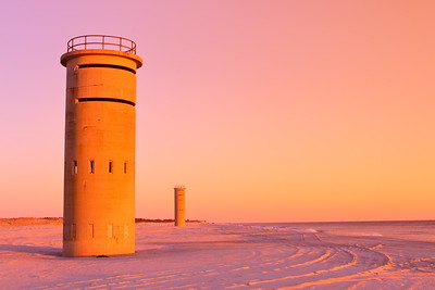 World War 2 military observation towers at sunrise in Rehoboth Beach, DE. © 2011 Kenneth R. Sheide