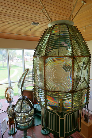 Fresnel lens from Cape Canaveral Lighthouse on display at Ponce de Leon (formerly Mosquito) Inlet Lighthouse, Ponce Inlet, FL. © 2021 Kenneth R. Sheide