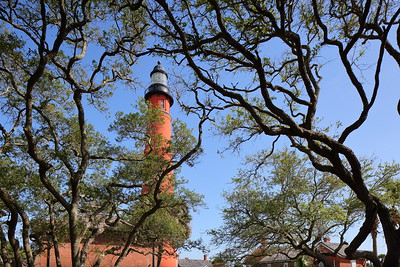 Ponce de Leon (formerly Mosquito) Inlet Lighthouse view through trees. Ponce Inlet, FL. © 2021 Kenneth R. Sheide