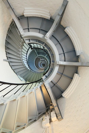 View up stairwell of Ponce de Leon (formerly Mosquito) Inlet Lighthouse, Ponce Inlet, FL. © 2021 Kenneth R. Sheide