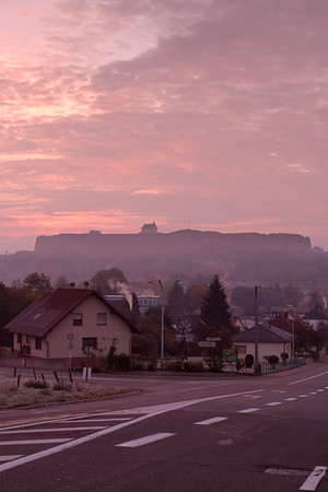 The citadel dominates the skyline above Btiche, France. © 2003 Kenneth R. Sheide