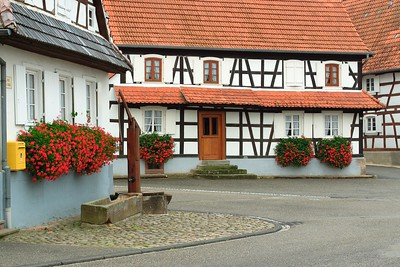 Half-timbered houses in Hunspach, France. © 2004 Kenneth R. Sheide