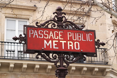 Sign annotating entrance to the Metro, Paris, France. © 2005 Kenneth R. Sheide