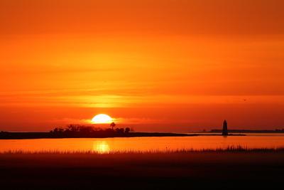 Sunrise behind the Cockspur Island Lighthouse. Cockspur Island, GA. © 2021 Kenneth R. Sheide