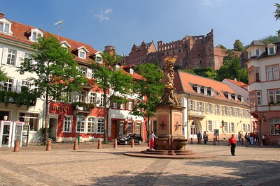 Corn Market of Heidelberg, Germany with the castle in the background and madonna statue in the middle. © 2004 Kenneth R. Sheide