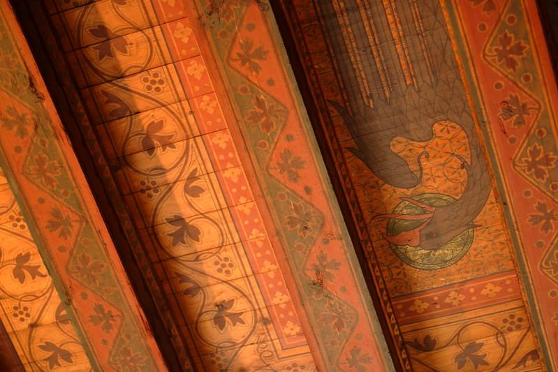Ornate decorations adorn a ceiling within Reichsburg Castle, Cochem, Germany. © 2004 Kenneth R. Sheide