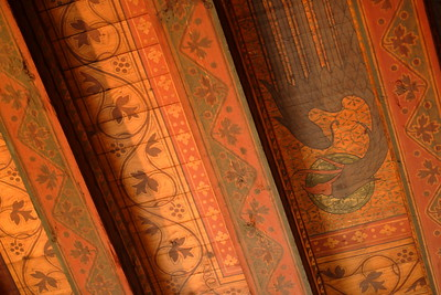 Ornate decorations adorn a ceiling within Reichsburg Castle, Cochem, Germany. © 2004 Kenneth R. Sheide