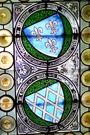 A stained glass window within Reichsburg Castle, Germany. © 2004 Kenneth R. Sheide