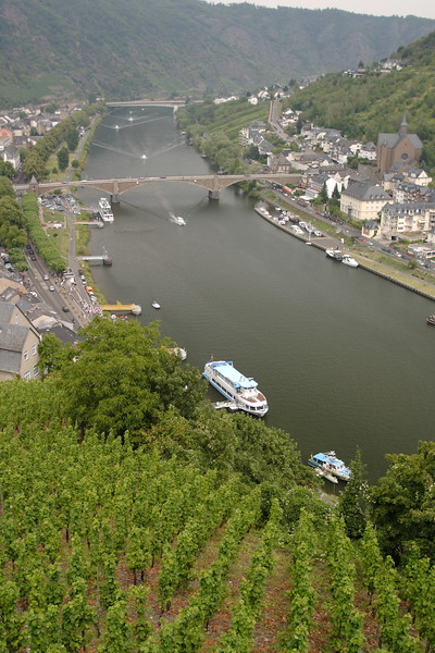 The view down the Mosel River from Reichsburg Castle above Cochem, Germany with a vineyard in the foreground. © 2004 Kenneth R. Sheide