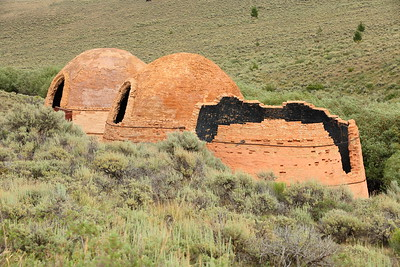 Three of the four remaining Birch Creek Brick Kilns.  There used to be 16 total when built in the late 1800s but 12 were collapsed and the bricks used for other buildings. Near Leadore, ID. © 2021 Kenneth R. Sheide