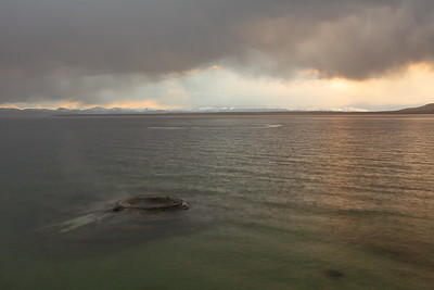 Late afternoon storm over Yellowstone Lake with fishing cone in foreground. © 2013 Kenneth R. Sheide