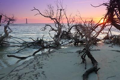 Sunrise view of Morris Island Lighthouse from Folly Island, SC. © 2021 Kenneth R. Sheide