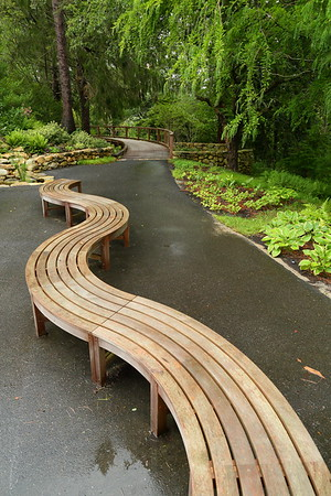 Curvy bench at Heritage Museums and Gardens, Sandwich, MA. © 2021 Kenneth R. Sheide
