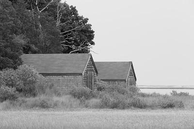 Boathouses beside the Salt Pond in Eastham, MA. © 2021 Kenneth R. Sheide